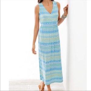 J. Jill Aegean Island Ikat Striped Maxi Dress